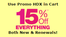 15 percent off Cheapest Domains - Promo Code HDX in Shopping Cart
